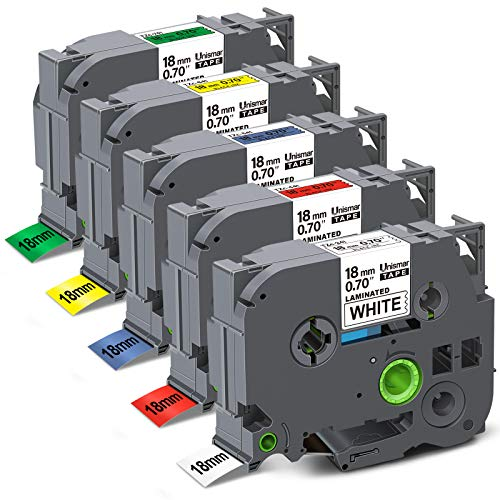 "Unismar Compatible Label Tape Replacement for Brother TZe241 TZe441 TZe541 TZe641 TZe741 Laminated for PT-D400AD PT-D400VP PT-D450 PT-D600 PT-D600VP PT-P700 Label Maker, 3/4"" x 26.2', 5-Pack"