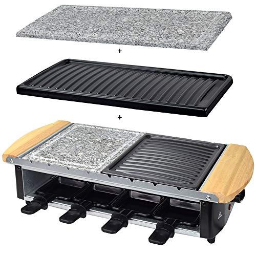 Syntrox Germany Edelstahl Design Raclette Uri mit Grill und Heißem Stein sowie 2 großen Wechselplatten