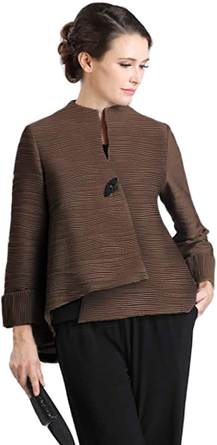 IC Collections Textured Foil Asymmetric Jacket in Brown  2079J