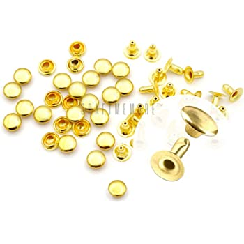 4 mm Cap, Silver CCINEE 4MM Double Cap Rivets Round Rivet Fasteners for Beading Craft Decorations