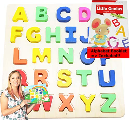 Wooden-Alphabet-Toddler Puzzles-Toys for 2 to 3 Year Olds Kids with Big Bright Color ABC-Letters -Girl, Boy Learning Resources; Educational Name, Shape Puzzle Preschool Learning Toys for Toddlers