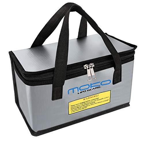 MoKo Lipo Batterie Sicher Tasche, Wasserdicht & Feuersicher Hülle mit Doppel Reißverschluss, Tragbare Schutzhülle Beutel Behälter für Aufladung und Lagerung von Batterien - Silber