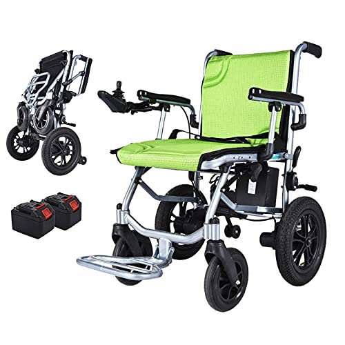 Silla de ruedas eléctrica liviana plegable con baterías de litio de 10 Ah 24 V (2), silla de ruedas motorizada de aleación de aluminio de 14 kg, motores duales, carga máxima 100 kg/220 IBS, 20km