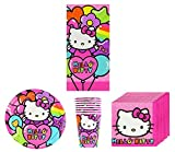 Hello Kitty New Sanrio Rainbow Birthday Party Supplies Pack Bundle Kit Including Plates, Cups, Napkins and Tablecover - 8 Guests