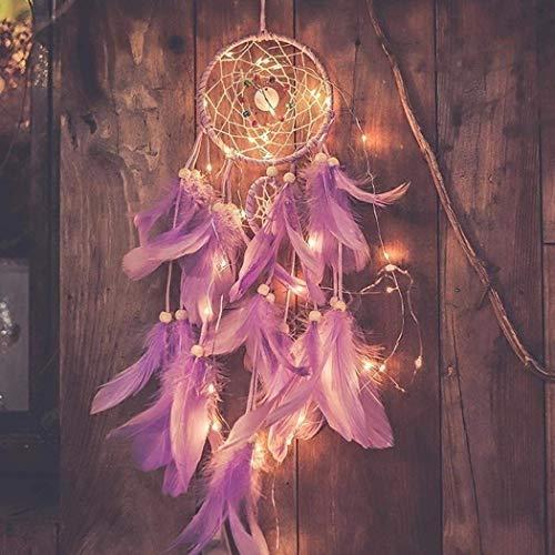 Traumfänger Dreamcatcher Feder Indianer mit LED Licht Zuhause Dekor Lila