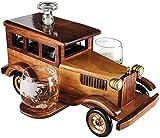 KPTKP Set di Decanter da Whisky dell'automobile d'Epoca con Due Bicchieri di Whisky da 10oz, Bottiglia di Vino di Occhiali da Viaggio del borosilicato 750ml, Regali di Compleanno degli Uomini
