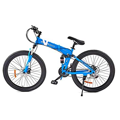 VIRIBUS 21 Speed Mountain Bike with Dual Disc Brakes | 26 Inch All-Terrain Bicycle with Full Suspension Adjustable Seat | 26er MTB with Aluminum Frame | Adult Road & Offroad Folding Bike (Blue)