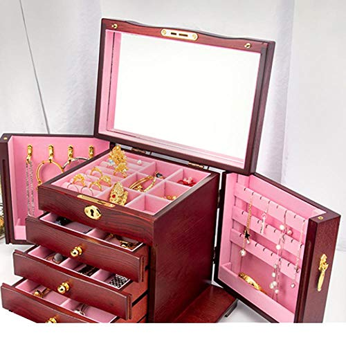 Fashion Wooden Jewelry Box, Women's Large-capacity Multifunctional Double-door Lockable Storage Box-Pink lining