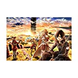 HQHQH Sword Art Online Kirigaya Kazuto and Yuuki Asuna Rompecabezas de Madera de Anime Rompecabezas de Juegos de Juguete de descompresión Familiar (1000pcs)