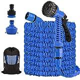 Flexibler Gartenschlauch 125FT/37,5m Dehnbarer Flexischlauch Flexi Wasserschlauch Flexibel Multisfunktionsbrause mit 7 Funktionen für Gartenbewässerung, Autowäsche, Haus Spülen, PET-Bäder (Blau)
