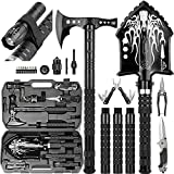 BANORES Camping Shovel Axe Unbreakable Survival Shovel,28-in-1 Survival Tools Such as Shovel,Flashlight,Multi-Function Tools,Scissors,Screw Set,Compass,etc;Camping Equipment for Hiking and Camping