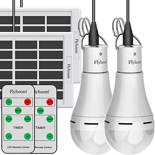 Flyhoom 2 Pack Solar Powered Light Bulbs Outdoor Rechargeable, Portable Solar Bulb...