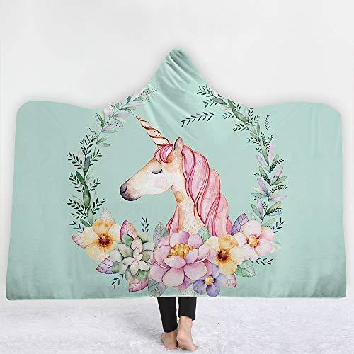 iBlan Couvertures de Jet Le canapé Le lit,Couverture de Sieste à Capuchon série Verte Licorne , 130 * 150cm