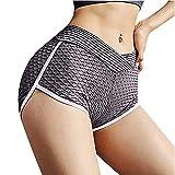 Taurner Fruncido Butt Lifting Pantalones Cortos con Elásticos Color Sólido Cintura Alta Leggings de Yoga para Mujeres Mallas de Deporte para Correr