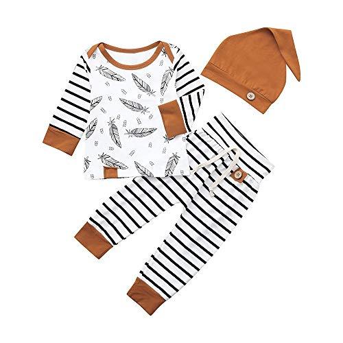 Alaso Plume Impression Garçons Filles Coton Pyjama Bébé Four Seasons sous-vêtements Ensembles Enfants Manche Longue Haut + Pantalons Long + Bonnet
