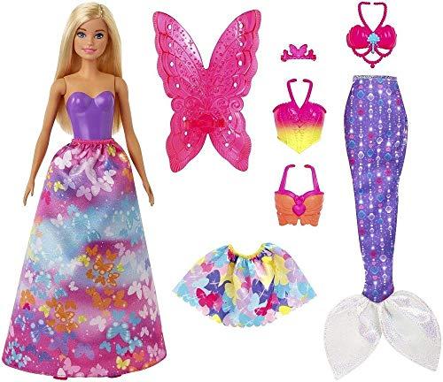 Barbie Dreamtopia poupée Papillons coffret 3-en-1 blonde avec trois tenues roses de princesse, sirène et fée, jouet pour enfant, GJK40
