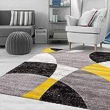 VIMODA Tapis motif géométrique, cercles chinés en gris, blanc, noir et jaune, dimensions : 80 x 150 cm
