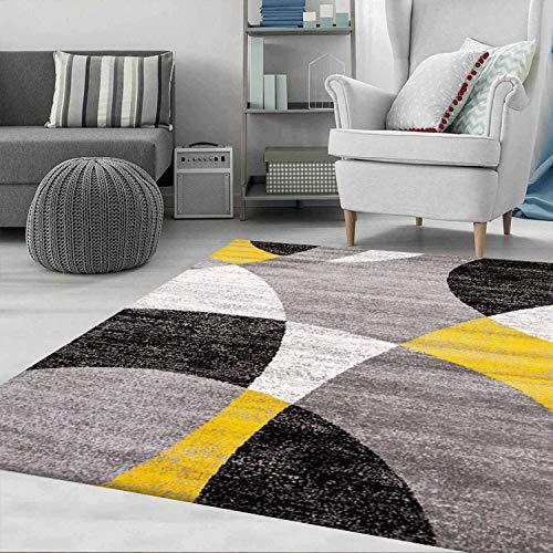 VIMODA Teppich Geometrische Kreismuster Meliert in Grau Weiß Schwarz und Gelb, Maße:60x110 cm