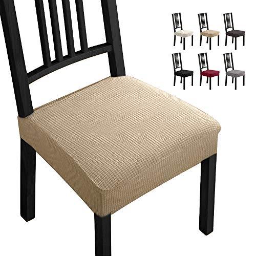 Fundas para sillas Pack de 4 Fundas sillas Comedor Fundas elásticas,Fundas de Asiento para Silla, Diseño Jacquard Cubiertas de la sillas,Extraíbles y Lavables-Decor Restaurante(Paquete de 4,Visón) -B
