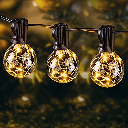 EOYIZW Outdoor String Lights LED, 35FT Premium 30+2 Bulb Plastic 0.1W G40 Globe Garden String Light-Outdoor Indoor IP65 Waterproof Lighting for Patio Backyard Gazebo Cafe Bedroom Party Decorative
