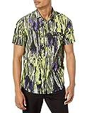 Armani Exchange Printed Cotton Poplin Truffle/Acid Lime TY Shirt Camisa, XL para Hombre
