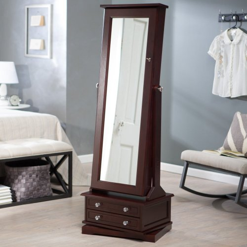 Swivel Free-Standing Cheval Jewelry Armoire with Full Length Mirror