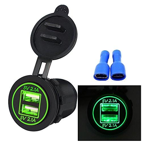 Covermason Chargeur Voiture 5V 4. 2 a Dual USB Chargeur Prise Adaptateur Prise de Courant 12V 24V Moto Voiture Vert