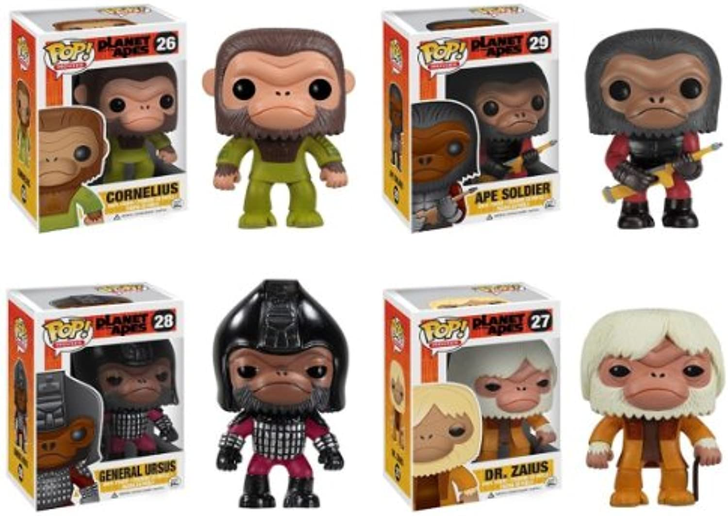 Funko Pop Planet of the Apes Set of 4  Cornelius, Dr. Zaius, General Ursus & an Ape Soldier