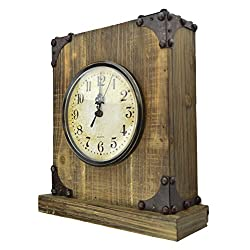 Lulu Decor, Shabby Chic Rustic Wood Tabletop Clock with Antique Look. Key Holder in Hidden Area (Desk Clock)