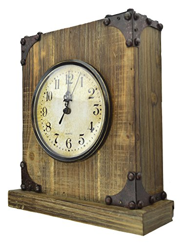 Lulu Decor, Reclaimed Wood, Shabby Chic Rustic Wood Tabletop Clock with Antique Look. Key Holder in Hidden Area (Desk Clock)