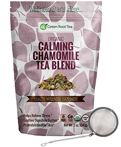 Calming Chamomile Tea - Organic Herbal Nighttime Loose Leaf Tea - Infuser Included (56 Servings) - Green Root Tea (6 OZ. Bag)