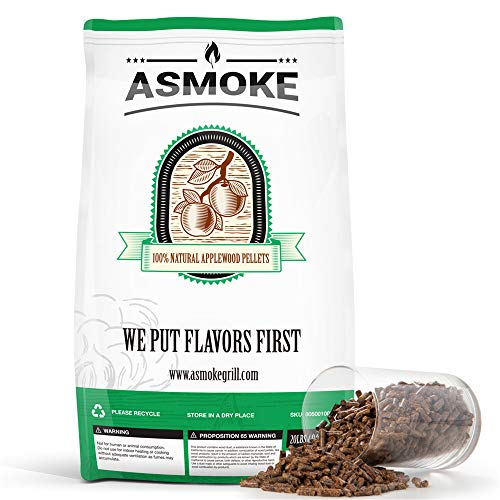 ASMOKE Smoking Wood Pellets - 20 lbs bag-100% Pure Food-Grade Applewood BBQ Flavor- SGS Report&FSC Certified- Outdoor Grill Smoker Grilling Cooking Pellets - Real Fruit Wood Straight from The Orchard