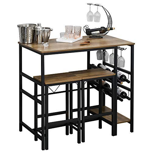 homcom Set Tavolo 2 Sgabelli Alti da Bar in Legno Isola Cucina con Portabottiglie e Portabicchieri in Stile Industriale