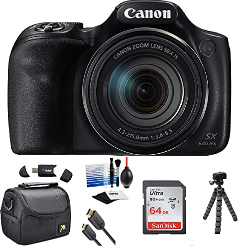 Canon PowerShot SX540 HS Wi-Fi Digital Camera with 64GB Card + Case + HDMI Cable + Tripod + Kit