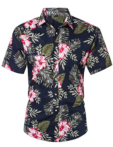 JEETOO Herren Hemd Hawaiian Casual Kurzarm Ananas Sommer Gr. 56, Rosenblüte
