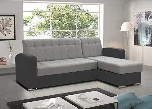 Don Baraton anticrisis.net Sofa Chaise Longue Cama con arcón – Salerno (Gris, Chaise Longue Derecha)