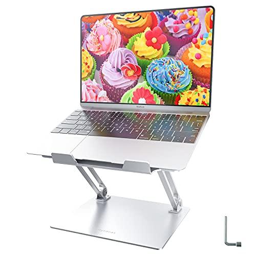 Soporte para ordenador portátil, altura regulable, con ventilación de calor, soporte ergonómico de aluminio, compatible con todos los portátiles de 10 a 17 pulgadas, color plateado