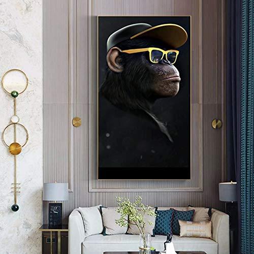 Pintura sin Marco Arte Gorila Mono chimpancé Auriculares Imagen Animal Lienzo Pintura Mural decoración del hogarZGQ5432 50X85cm
