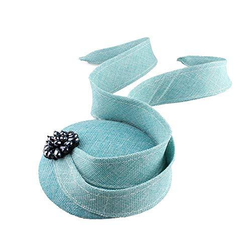 FHKGCD Encantador Azul Claro Imitación Sinamay Tocados Sombreros Accesorios para El Cabello Pinzas para El Cabello Tocado, Turquesa,