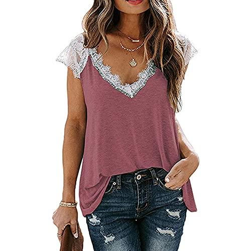 Mayntop Camiseta para mujer para verano, manga corta, encaje, con cuello en V, suelta, talla grande, B-rosa, 42
