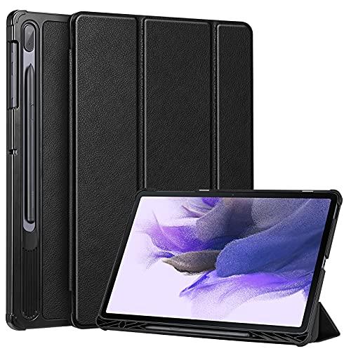 FINTIE SlimShell Funda para Samsung Galaxy Tab S7 FE 12,4' con Soporte para S Pen - Carcasa Delgada y Ligera con Función de Auto-Reposo/Activación, Negro