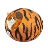 Cat Cave Bed (Large) ~ Handmade Eco Friendly Natural Felted Merino Wool ~ Warm and Cozy Beds for Cats and Kittens ~ Bonus Felt Wool Ball