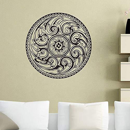 JXNY Wandaufkleber Indisches Mandala Muster Yoga Vinyl Aufkleber Home Decor Art Wandbild Schlafzimmer Studio Fenster 58x58cm