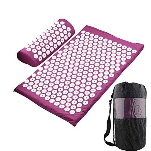 HDDFG Cojín de Masaje Colchoneta de Yoga Masajeador de pies y Espalda para el Cuello Almohadilla de Masaje de acupuntura (Color : Purple Set)