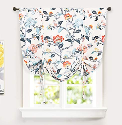 DriftAway Ada Botanical Print Lined Flower Leaf Tie Up Curtain Thermal Insulated Blackout Window product image