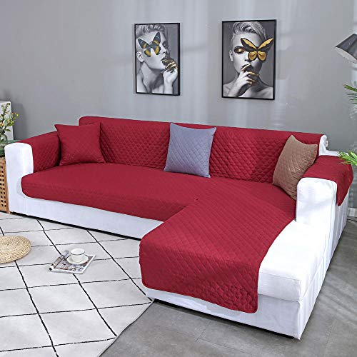 Sofa-slipcovers Tight Wrap All-inclusive Slip-resistant Elastic,Removable Corner Sofa Cover For Living Room, 1pc Left Right L Shape Sectional Sofa Couch Cover Furniture Protector-Wine Red Color_