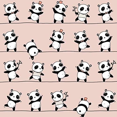 8,98€/m Panda Pandabär Bär 100% Baumwolle 50x160cm Baumwollstoff Meterware Handwerken Nähen Stoff (Panda Rosa)