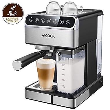 AICOOK Espresso Machine, Barista Espresso Coffee Maker with One Touch Digital Screen, 15 bar Pump and Automatic Milk Frother, Cappuccino Maker, Latte Maker