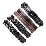 4 PCS Pulsera de cuero Pulsera de cuerda multicapa trenzada de la vendimia para hombres Mujeres Pulsera de la amistad Set, ajustable