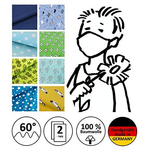 Mund- und Nasenmaske, Community-Maske, Kindermaske, Jungen-Maske, Alltagsmaske - Für JUNGEN - handgenäht in Deutschland